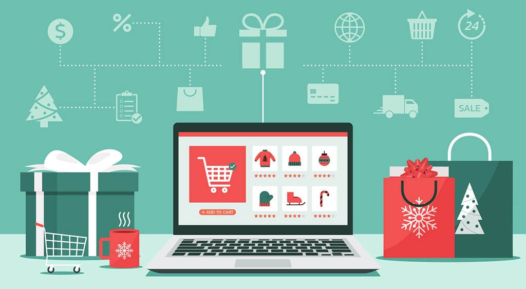 Christmas online shopping concept on laptop screen